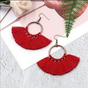 Jewelry - RED FEATHERY TASSEL EARRINGS!